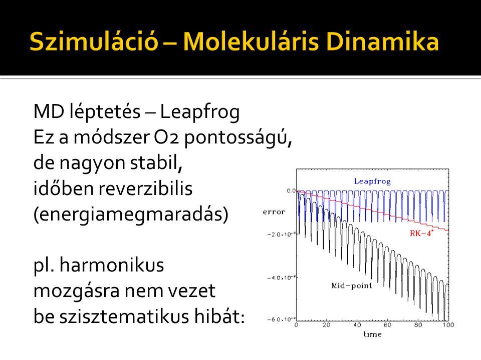 MD léptetés – Leapfrog Ez a módszer O2 pontosságú, de nagyon stabil, időben reverzibilis (energiamegmaradás) pl. harmonikus mozgásra nem vezet be szis