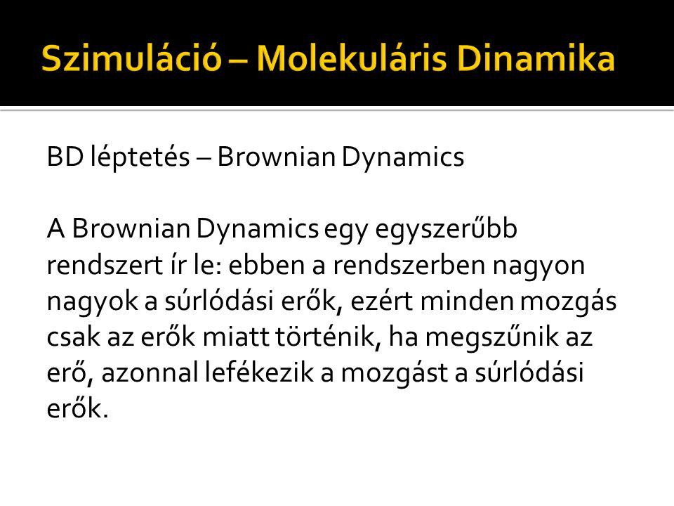 BD léptetés – Brownian Dynamics A Brownian Dynamics egy egyszerűbb rendszert ír le: ebben a rendszerben nagyon nagyok a súrlódási erők, ezért minden mozgás csak az erők miatt történik, ha megszűnik az erő, azonnal lefékezik a mozgást a súrlódási erők.
