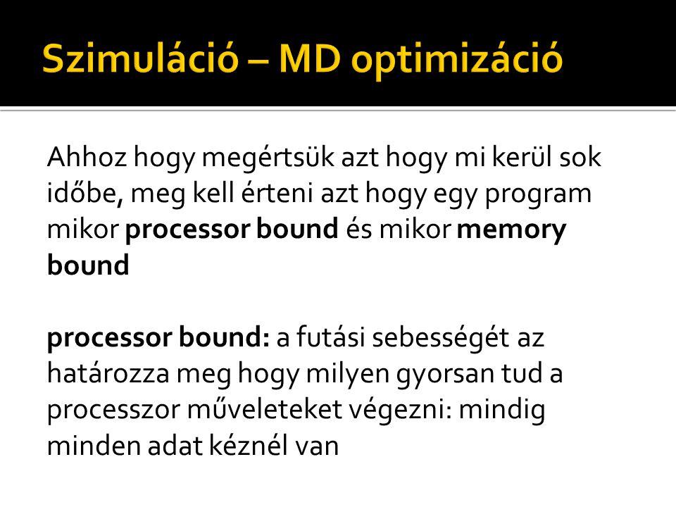 Ahhoz hogy megértsük azt hogy mi kerül sok időbe, meg kell érteni azt hogy egy program mikor processor bound és mikor memory bound processor bound: a futási sebességét az határozza meg hogy milyen gyorsan tud a processzor műveleteket végezni: mindig minden adat kéznél van