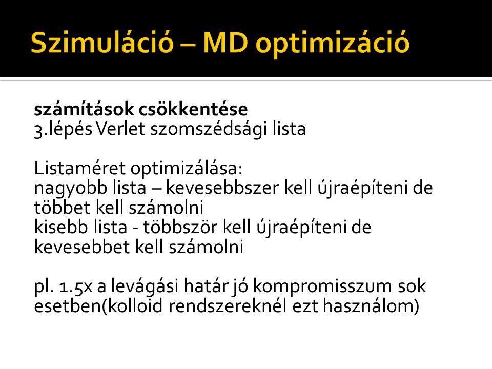 Listaméret optimizálása: nagyobb lista – kevesebbszer kell újraépíteni de többet kell számolni kisebb lista - többször kell újraépíteni de kevesebbet kell számolni pl.