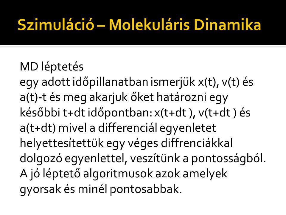 MD léptetés egy adott időpillanatban ismerjük x(t), v(t) és a(t)-t és meg akarjuk őket határozni egy későbbi t+dt időpontban: x(t+dt ), v(t+dt ) és a(t+dt) mivel a differenciál egyenletet helyettesítettük egy véges diffrenciákkal dolgozó egyenlettel, veszítünk a pontosságból.