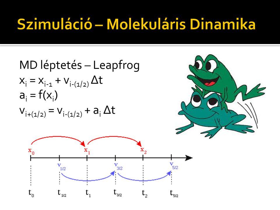 MD léptetés – Leapfrog x i = x i-1 + v i-(1/2) Δt a i = f(x i ) v i+(1/2) = v i-(1/2) + a i Δt