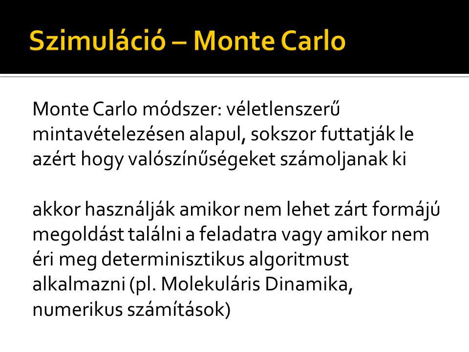Monte Carlo módszer: véletlenszerű mintavételezésen alapul, sokszor futtatják le azért hogy valószínűségeket számoljanak ki akkor használják amikor nem lehet zárt formájú megoldást találni a feladatra vagy amikor nem éri meg determinisztikus algoritmust alkalmazni (pl.