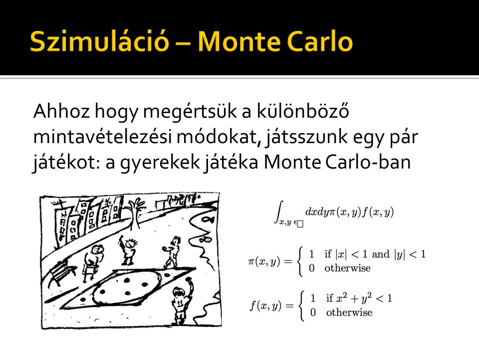 Ahhoz hogy megértsük a különböző mintavételezési módokat, játsszunk egy pár játékot: a gyerekek játéka Monte Carlo-ban