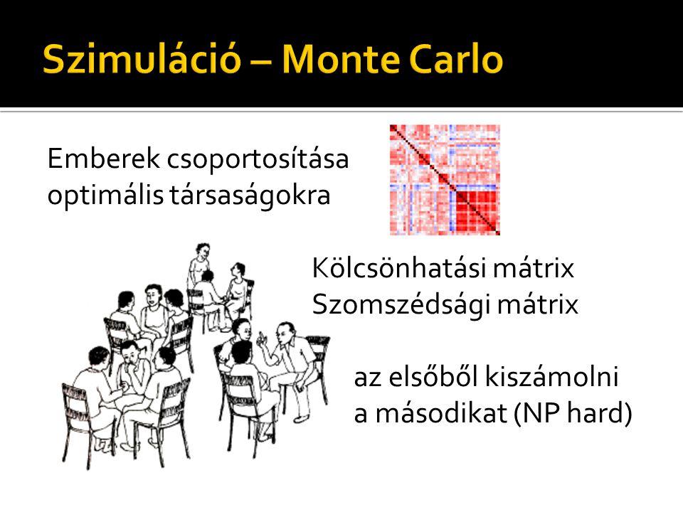 Emberek csoportosítása optimális társaságokra Kölcsönhatási mátrix Szomszédsági mátrix az elsőből kiszámolni a másodikat (NP hard)