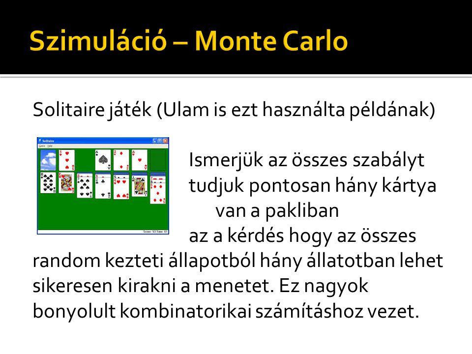 Solitaire játék (Ulam is ezt használta példának) Ismerjük az összes szabályt tudjuk pontosan hány kártya van a pakliban az a kérdés hogy az összes random kezteti állapotból hány állatotban lehet sikeresen kirakni a menetet.