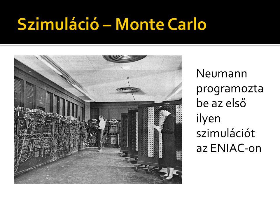 Neumann programozta be az első ilyen szimulációt az ENIAC-on