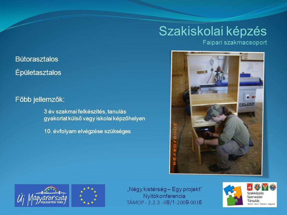 """Szakiskolai képzés Faipari szakmacsoport """"Négy kistérség – Egy projekt"""" Nyitókonferencia TÁMOP - 2.2.3 - 0 9 / 1 -200 9 -001 6 Bútorasztalos Épületasz"""