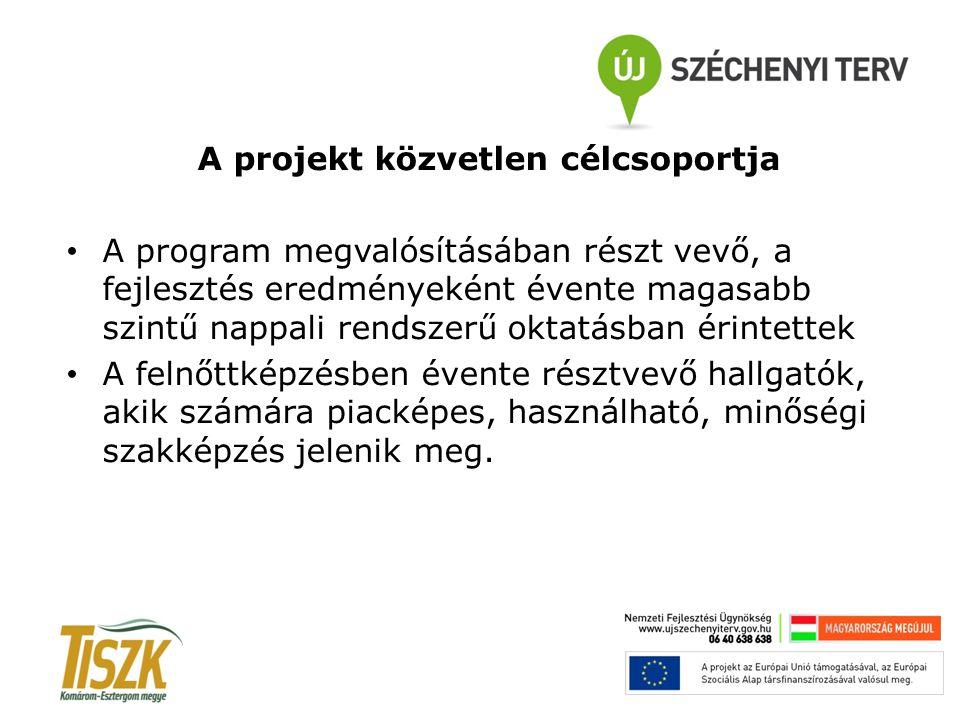 A projekt közvetlen célcsoportja A program megvalósításában részt vevő, a fejlesztés eredményeként évente magasabb szintű nappali rendszerű oktatásban