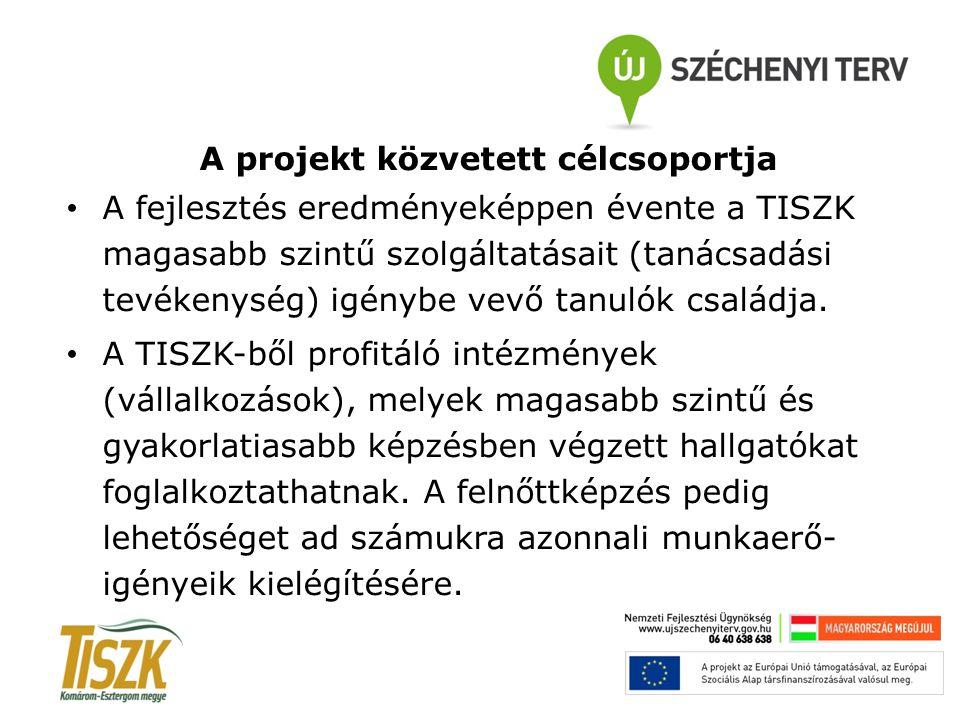 A projekt közvetett célcsoportja A fejlesztés eredményeképpen évente a TISZK magasabb szintű szolgáltatásait (tanácsadási tevékenység) igénybe vevő ta