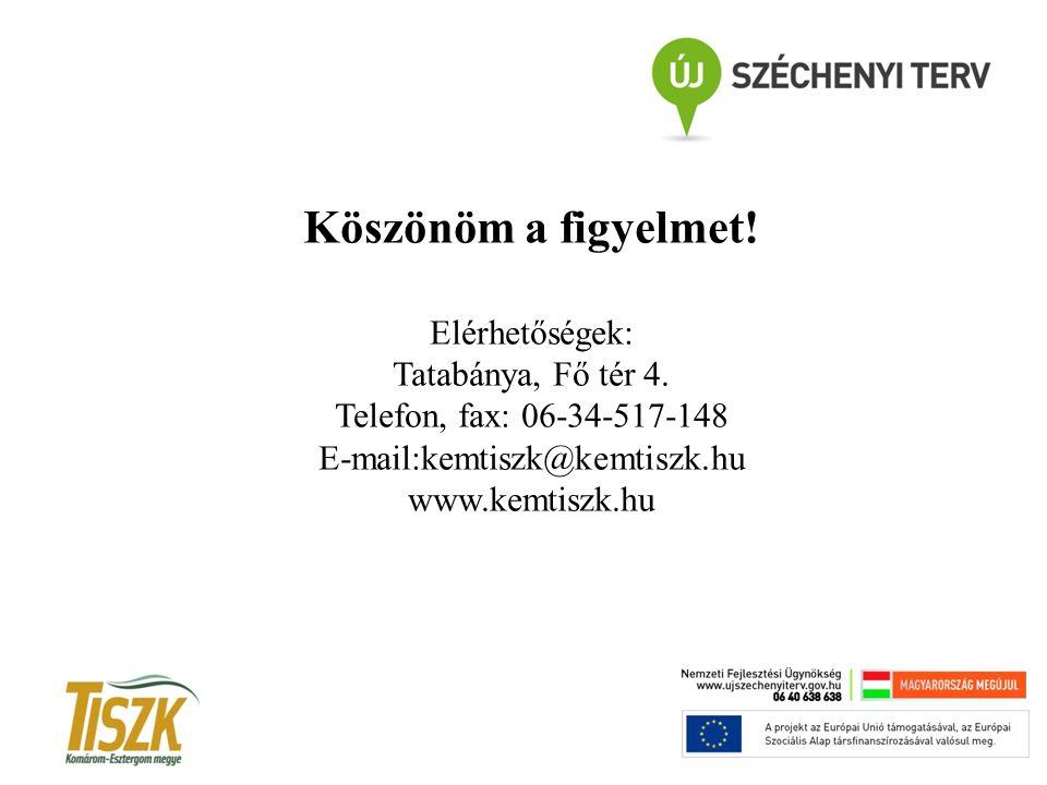 Köszönöm a figyelmet! Elérhetőségek: Tatabánya, Fő tér 4. Telefon, fax: 06-34-517-148 E-mail:kemtiszk@kemtiszk.hu www.kemtiszk.hu