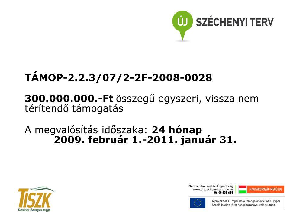 TÁMOP-2.2.3/07/2-2F-2008-0028 300.000.000.-Ft összegű egyszeri, vissza nem térítendő támogatás A megvalósítás időszaka: 24 hónap 2009. február 1.-2011