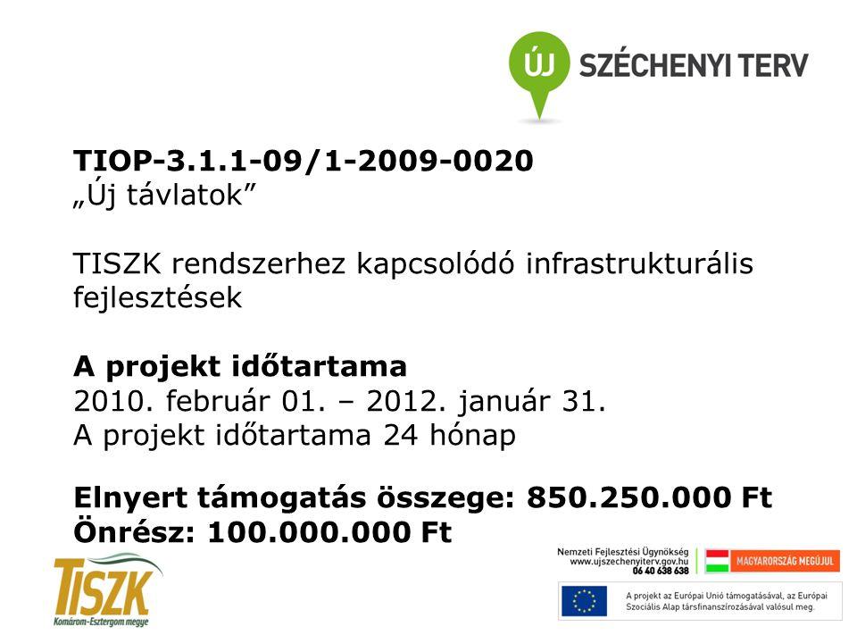 """TIOP-3.1.1-09/1-2009-0020 """"Új távlatok"""" TISZK rendszerhez kapcsolódó infrastrukturális fejlesztések A projekt időtartama 2010. február 01. – 2012. jan"""