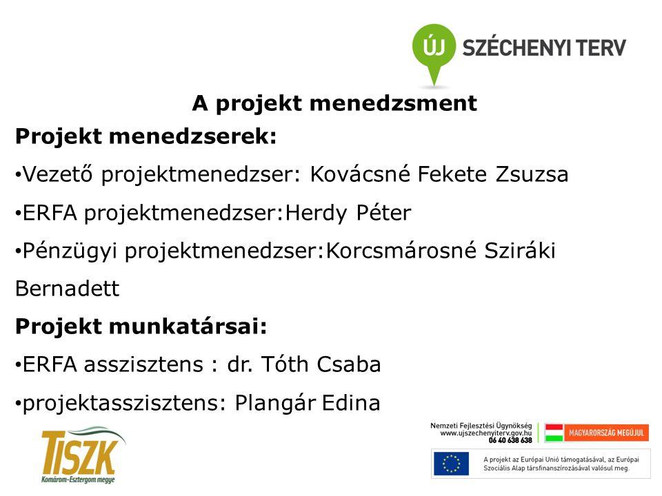 A projekt menedzsment Projekt menedzserek: Vezető projektmenedzser: Kovácsné Fekete Zsuzsa ERFA projektmenedzser:Herdy Péter Pénzügyi projektmenedzser