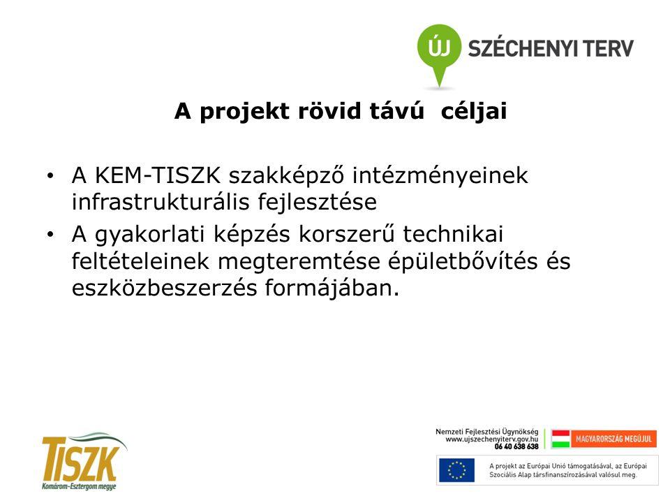A projekt rövid távú céljai A KEM-TISZK szakképző intézményeinek infrastrukturális fejlesztése A gyakorlati képzés korszerű technikai feltételeinek me