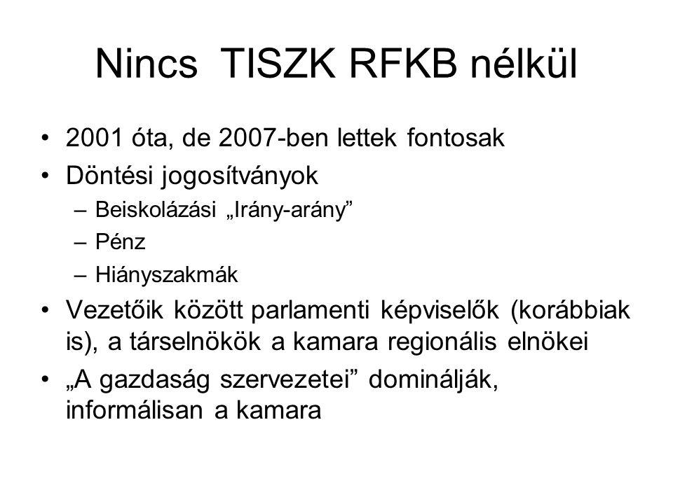 """Nincs TISZK RFKB nélkül 2001 óta, de 2007-ben lettek fontosak Döntési jogosítványok –Beiskolázási """"Irány-arány –Pénz –Hiányszakmák Vezetőik között parlamenti képviselők (korábbiak is), a társelnökök a kamara regionális elnökei """"A gazdaság szervezetei dominálják, informálisan a kamara"""