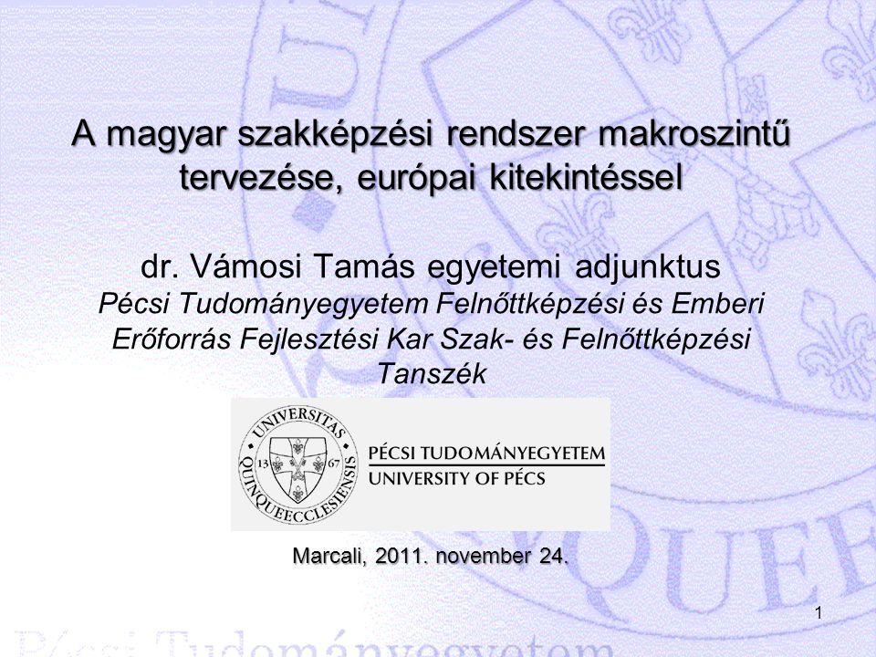 1 A magyar szakképzési rendszer makroszintű tervezése, európai kitekintéssel Marcali, 2011. november 24. A magyar szakképzési rendszer makroszintű ter