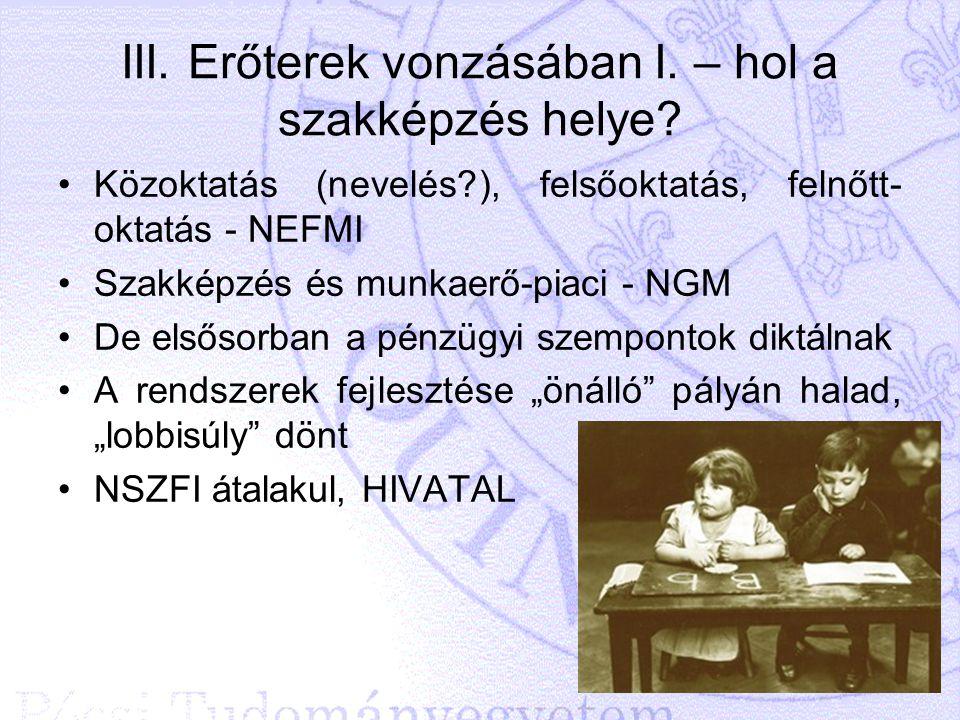 III. Erőterek vonzásában I. – hol a szakképzés helye? Közoktatás (nevelés?), felsőoktatás, felnőtt- oktatás - NEFMI Szakképzés és munkaerő-piaci - NGM