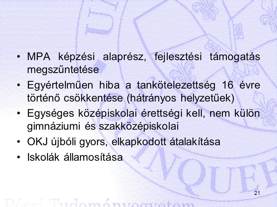 MPA képzési alaprész, fejlesztési támogatás megszűntetése Egyértelműen hiba a tankötelezettség 16 évre történő csökkentése (hátrányos helyzetűek) Egys