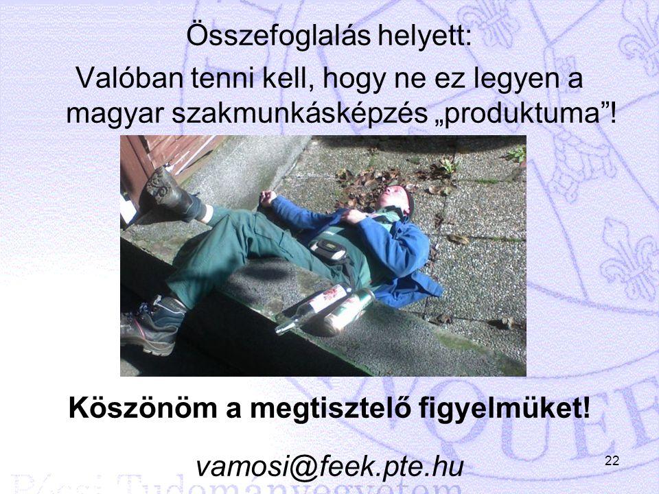 """Összefoglalás helyett: Valóban tenni kell, hogy ne ez legyen a magyar szakmunkásképzés """"produktuma""""! Köszönöm a megtisztelő figyelmüket! vamosi@feek.p"""