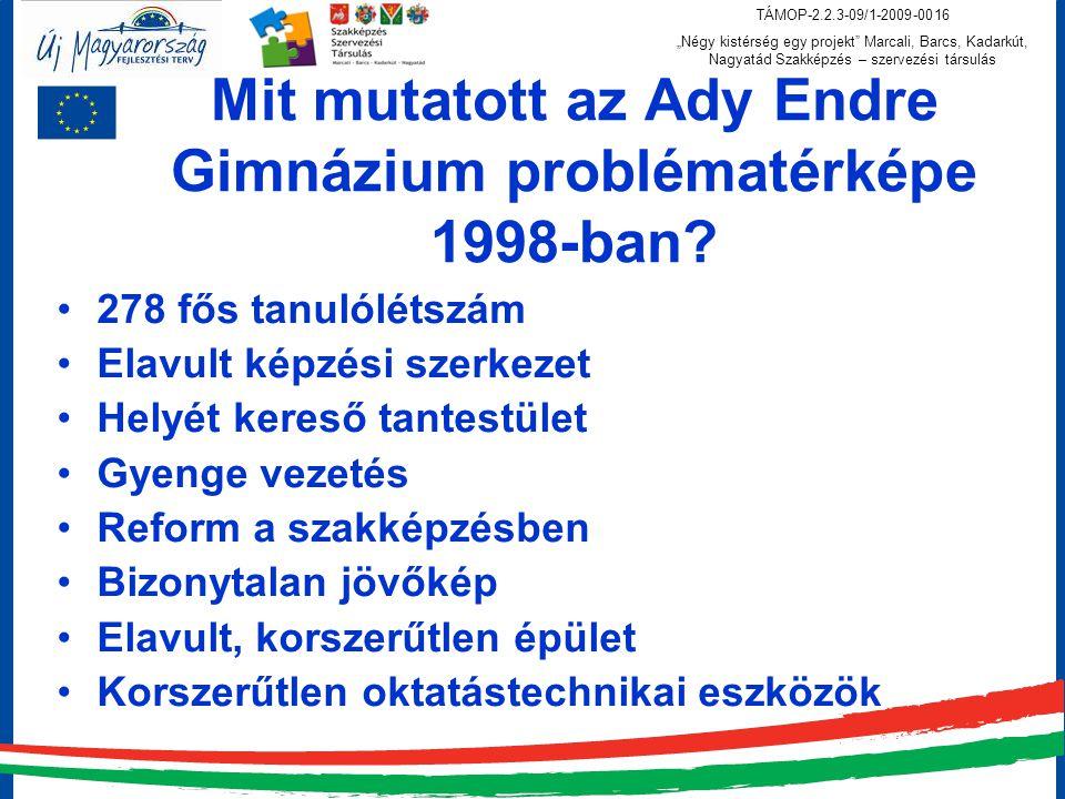 """TÁMOP-2.2.3-09/1-2009-0016 """"Négy kistérség egy projekt Marcali, Barcs, Kadarkút, Nagyatád Szakképzés – szervezési társulás Mit mutatott az Ady Endre Gimnázium problématérképe 1998-ban."""