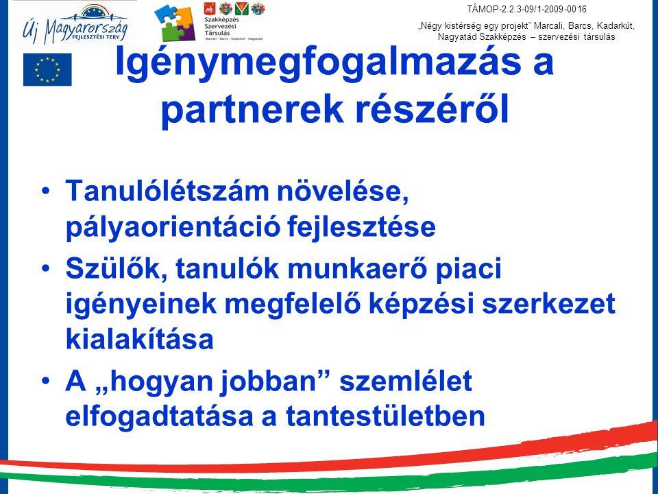 """TÁMOP-2.2.3-09/1-2009-0016 """"Négy kistérség egy projekt Marcali, Barcs, Kadarkút, Nagyatád Szakképzés – szervezési társulás Igénymegfogalmazás a partnerek részéről Tanulólétszám növelése, pályaorientáció fejlesztése Szülők, tanulók munkaerő piaci igényeinek megfelelő képzési szerkezet kialakítása A """"hogyan jobban szemlélet elfogadtatása a tantestületben"""