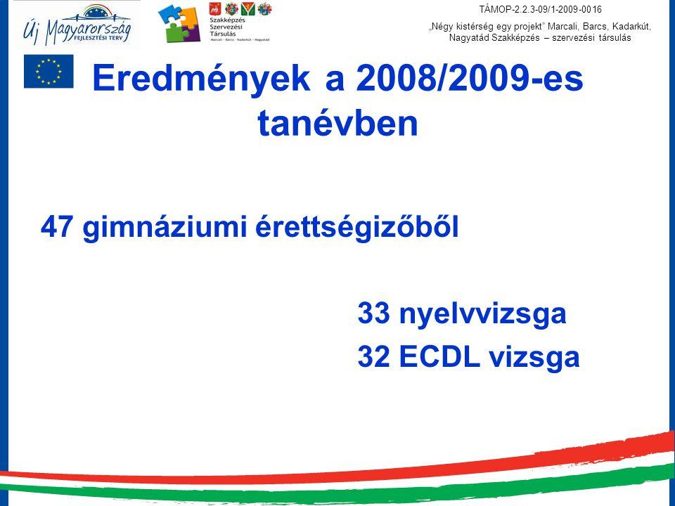 """TÁMOP-2.2.3-09/1-2009-0016 """"Négy kistérség egy projekt Marcali, Barcs, Kadarkút, Nagyatád Szakképzés – szervezési társulás Eredmények a 2008/2009-es tanévben 47 gimnáziumi érettségizőből 33 nyelvvizsga 32 ECDL vizsga"""