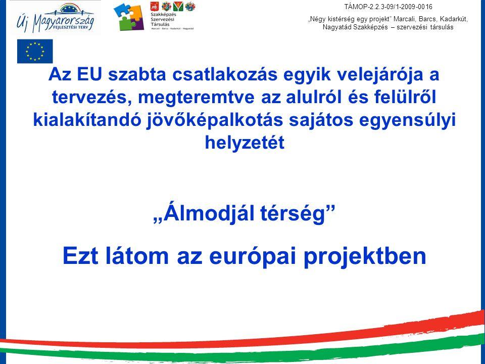 """TÁMOP-2.2.3-09/1-2009-0016 """"Négy kistérség egy projekt Marcali, Barcs, Kadarkút, Nagyatád Szakképzés – szervezési társulás Az EU szabta csatlakozás egyik velejárója a tervezés, megteremtve az alulról és felülről kialakítandó jövőképalkotás sajátos egyensúlyi helyzetét """"Álmodjál térség Ezt látom az európai projektben"""