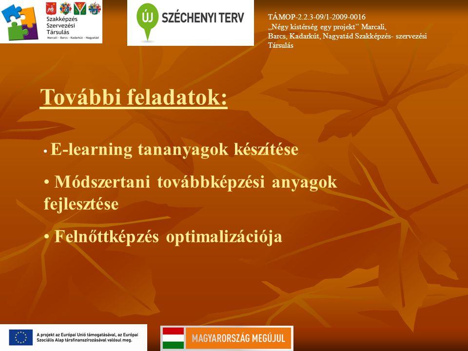 """TÁMOP-2.2.3-09/1-2009-0016 """"Négy kistérség egy projekt Marcali, Barcs, Kadarkút, Nagyatád Szakképzés- szervezési Társulás További feladatok: E-learning tananyagok készítése Módszertani továbbképzési anyagok fejlesztése Felnőttképzés optimalizációja"""