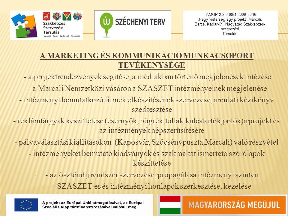 A MARKETING ÉS KOMMUNIKÁCIÓ MUNKACSOPORT TEVÉKENYSÉGE - a projektrendezvények segítése, a médiákban történő megjelenések intézése - a Marcali Nemzetkö