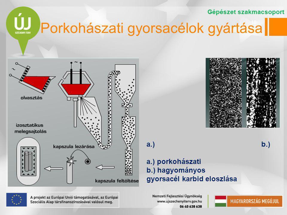 18 Porkohászati gyorsacélok gyártása a.)b.) a.) porkohászati b.) hagyományos gyorsacél karbid eloszlása Gépészet szakmacsoport