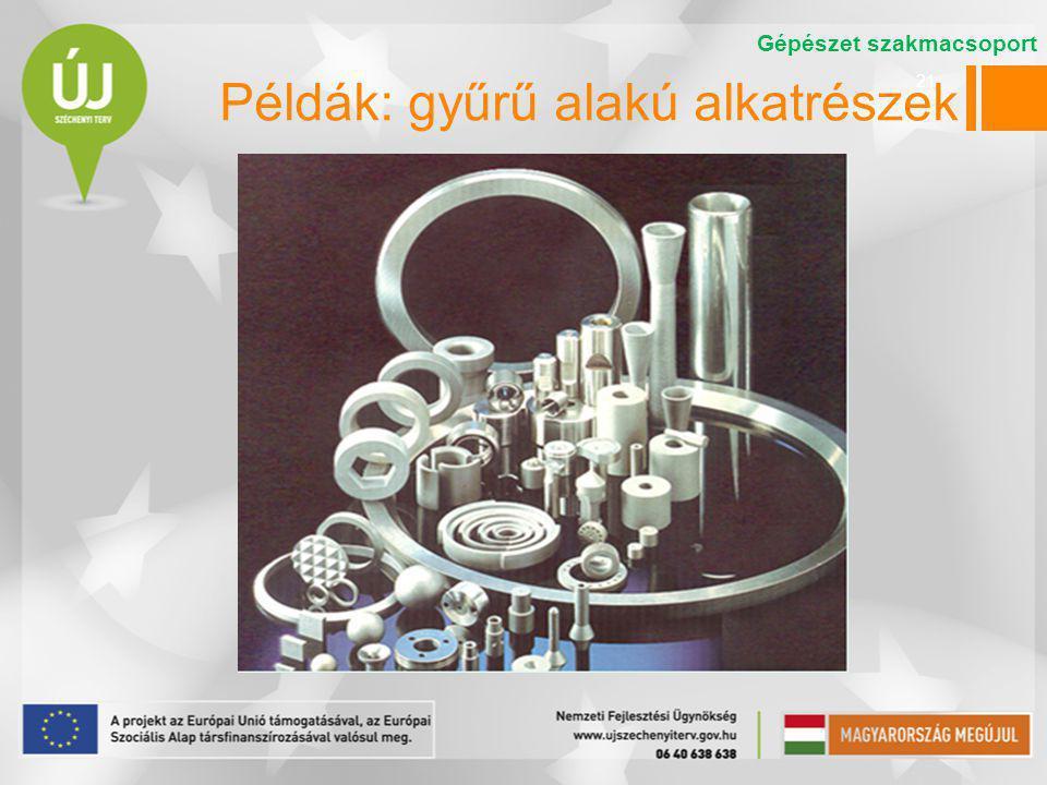 21 Gépészet szakmacsoport Példák: gyűrű alakú alkatrészek