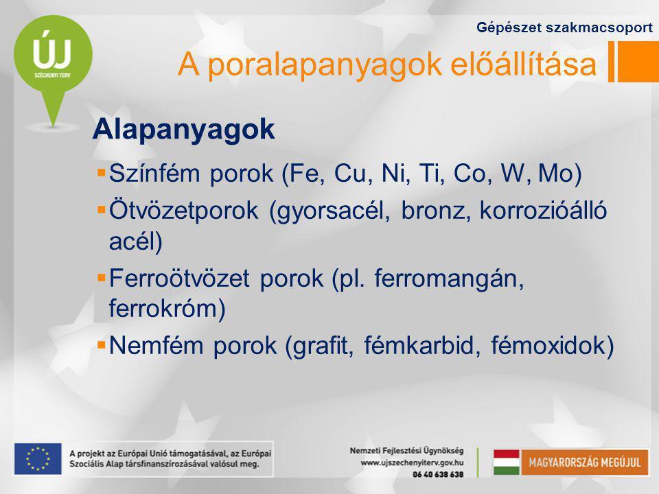 A poralapanyagok előállítása  Színfém porok (Fe, Cu, Ni, Ti, Co, W, Mo)  Ötvözetporok (gyorsacél, bronz, korrozióálló acél)  Ferroötvözet porok (pl