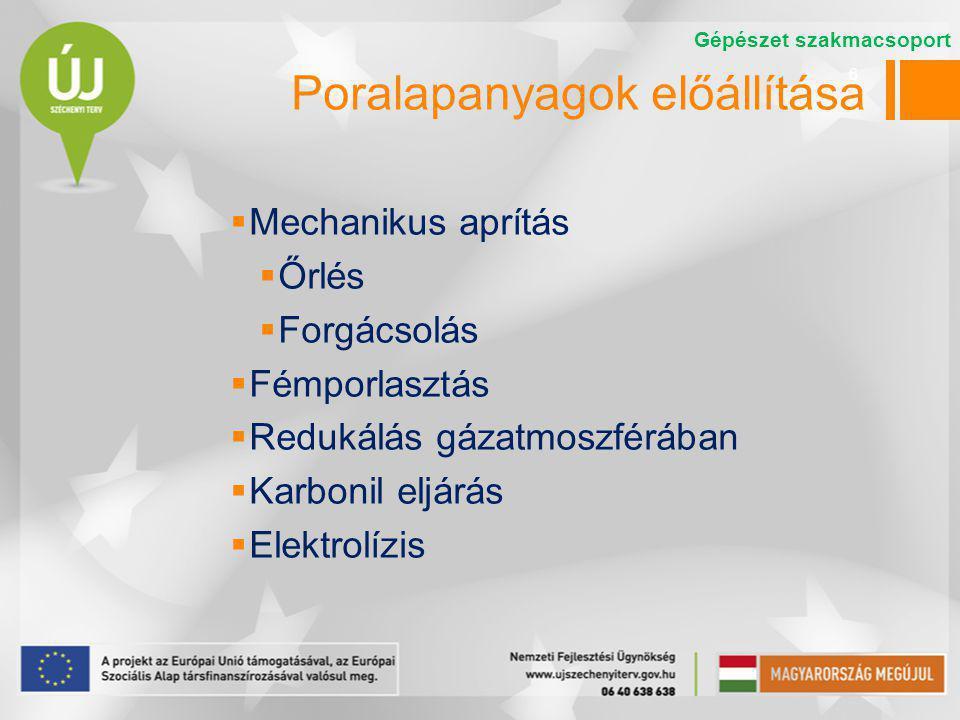 6 Poralapanyagok előállítása  Mechanikus aprítás  Őrlés  Forgácsolás  Fémporlasztás  Redukálás gázatmoszférában  Karbonil eljárás  Elektrolízis
