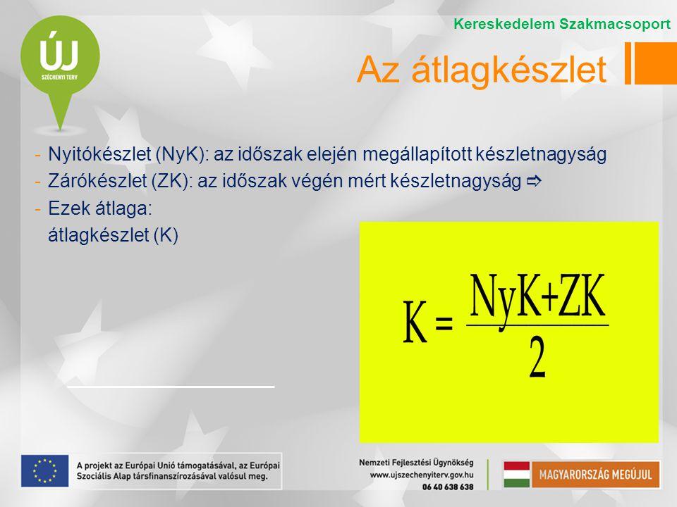-Nyitókészlet (NyK): az időszak elején megállapított készletnagyság -Zárókészlet (ZK): az időszak végén mért készletnagyság  -Ezek átlaga: átlagkészl