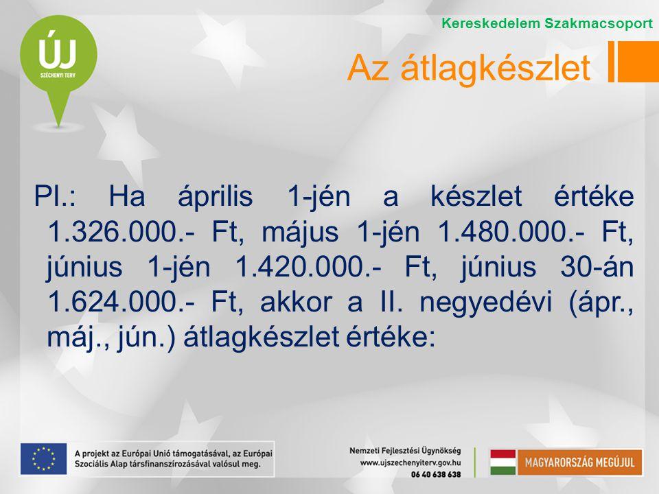 Pl.: Ha április 1-jén a készlet értéke 1.326.000.- Ft, május 1-jén 1.480.000.- Ft, június 1-jén 1.420.000.- Ft, június 30-án 1.624.000.- Ft, akkor a I