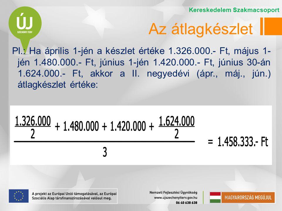 Pl.: Ha április 1-jén a készlet értéke 1.326.000.- Ft, május 1- jén 1.480.000.- Ft, június 1-jén 1.420.000.- Ft, június 30-án 1.624.000.- Ft, akkor a