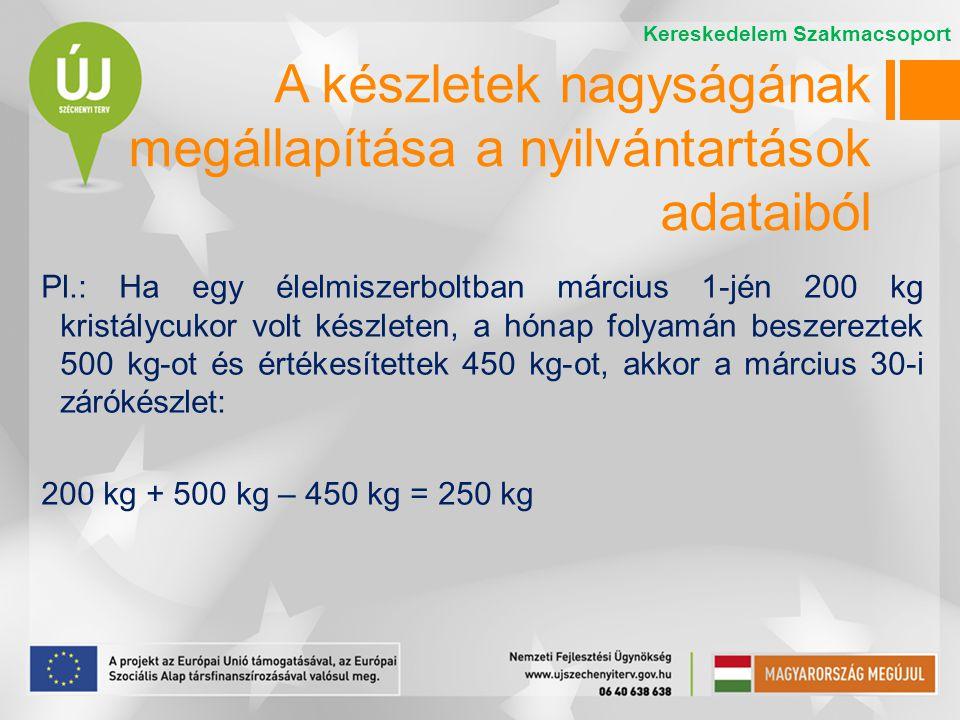 Pl.: Ha egy élelmiszerboltban március 1-jén 200 kg kristálycukor volt készleten, a hónap folyamán beszereztek 500 kg-ot és értékesítettek 450 kg-ot, a