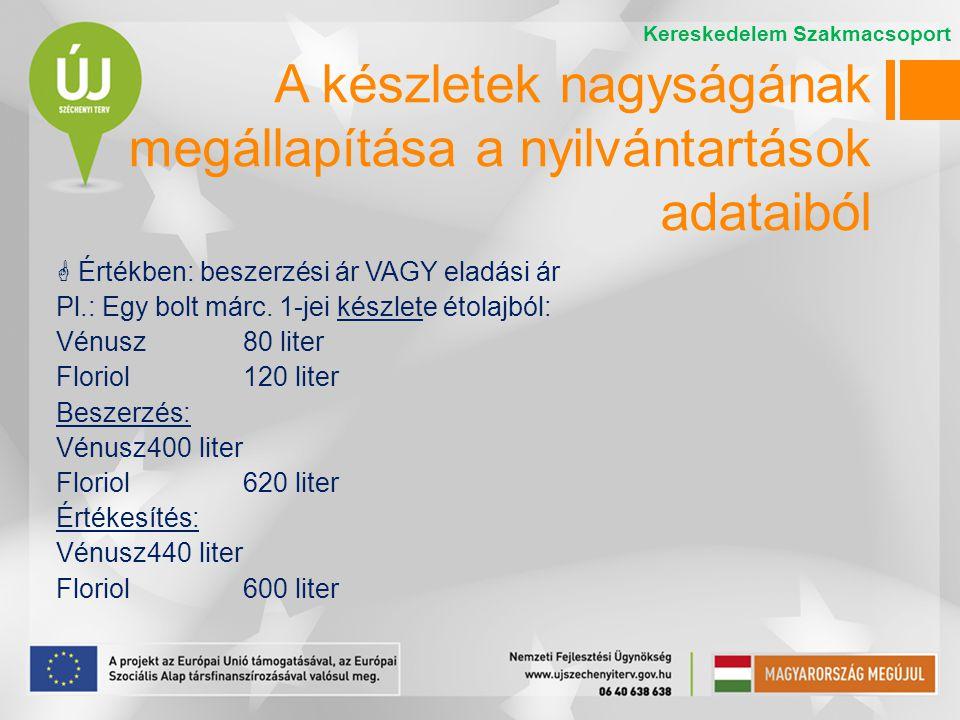  Értékben: beszerzési ár VAGY eladási ár Pl.: Egy bolt márc. 1-jei készlete étolajból: Vénusz 80 liter Floriol 120 liter Beszerzés: Vénusz400 liter F