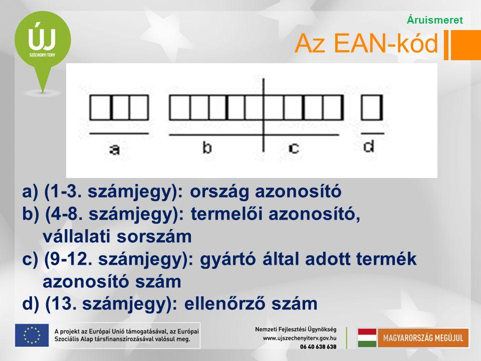 Az EAN-kód a) (1-3. számjegy): ország azonosító b) (4-8. számjegy): termelői azonosító, vállalati sorszám c) (9-12. számjegy): gyártó által adott term
