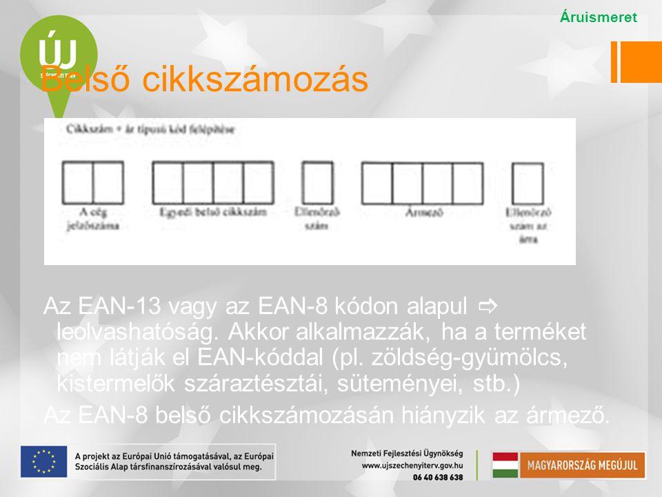 Belső cikkszámozás Az EAN-13 vagy az EAN-8 kódon alapul  leolvashatóság. Akkor alkalmazzák, ha a terméket nem látják el EAN-kóddal (pl. zöldség-gyümö