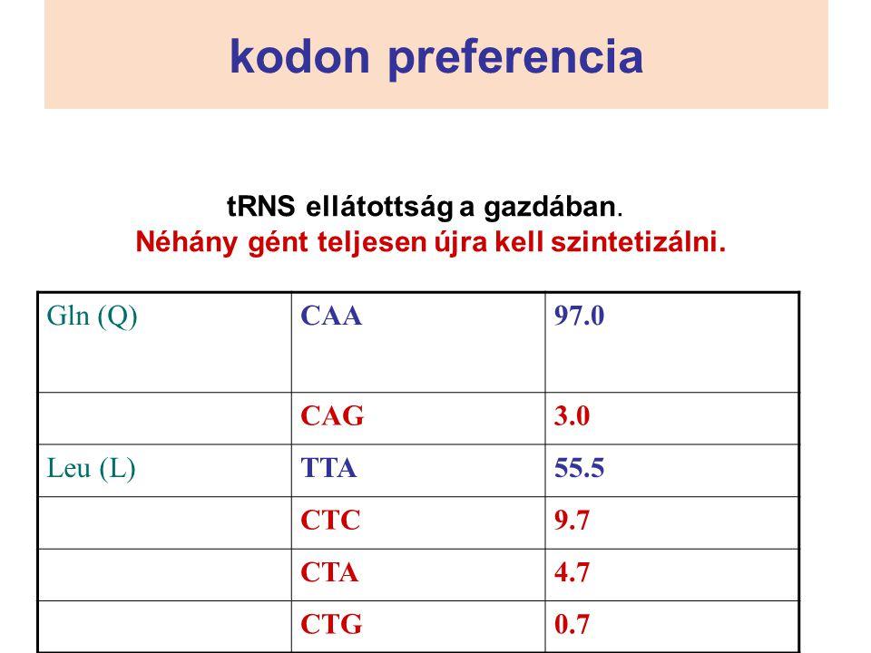 kodon preferencia Gln (Q)CAA97.0 CAG3.0 Leu (L)TTA55.5 CTC9.7 CTA4.7 CTG0.7 tRNS ellátottság a gazdában. Néhány gént teljesen újra kell szintetizálni.
