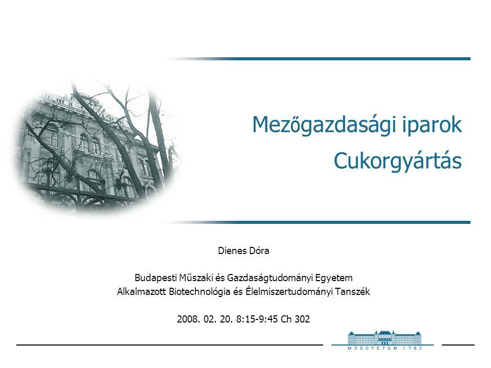 Mez ő gazdasági iparok Cukorgyártás Dienes Dóra Budapesti Műszaki és Gazdaságtudományi Egyetem Alkalmazott Biotechnológia és Élelmiszertudományi Tanszék 2008.