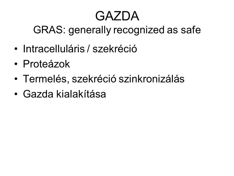 GAZDA GRAS: generally recognized as safe Intracelluláris / szekréció Proteázok Termelés, szekréció szinkronizálás Gazda kialakítása