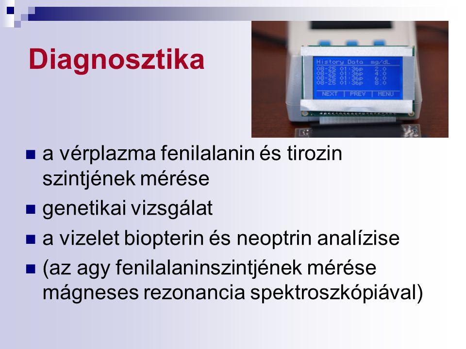 Diagnosztika a vérplazma fenilalanin és tirozin szintjének mérése genetikai vizsgálat a vizelet biopterin és neoptrin analízise (az agy fenilalaninszi