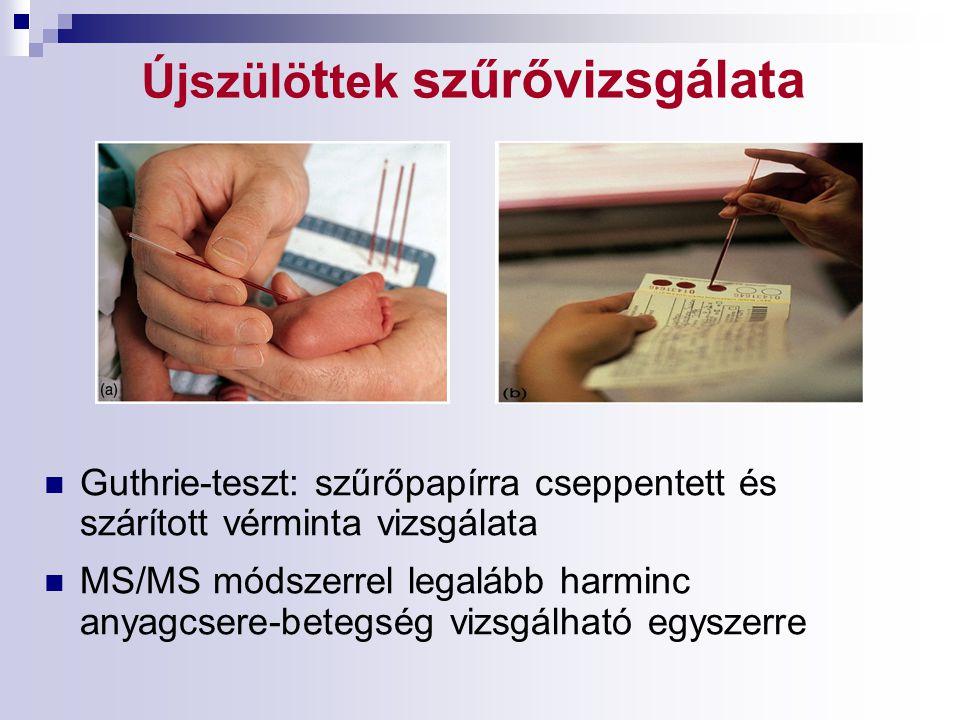 Újszülö t tek szűrővizsgálata Guthrie-teszt: szűrőpapírra cseppentett és szárított vérminta vizsgálata MS/MS módszerrel legalább harminc anyagcsere-be