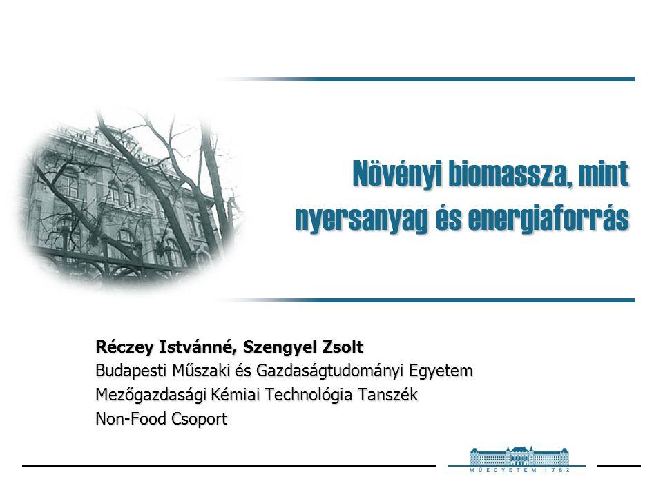 Növényi biomassza, mint nyersanyag és energiaforrás Réczey Istvánné, Szengyel Zsolt Budapesti Műszaki és Gazdaságtudományi Egyetem Mezőgazdasági Kémia