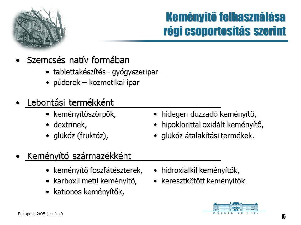 Budapest, 2005. január 19 15 Keményítő felhasználása régi csoportosítás szerint Szemcsés natív formábanSzemcsés natív formában tablettakészítés - gyóg