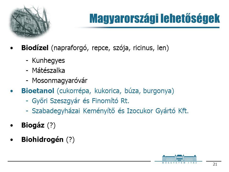 21 Magyarországi lehetőségek Biodízel (napraforgó, repce, szója, ricinus, len) Kunhegyes Mátészalka Mosonmagyaróvár Bioetanol (cukorrépa, kukorica,