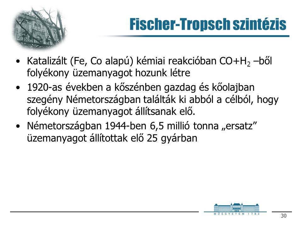 30 Fischer-Tropsch szintézis Katalizált (Fe, Co alapú) kémiai reakcióban CO+H 2 –ből folyékony üzemanyagot hozunk létre 1920-as években a kőszénben ga